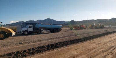Obra de asfalto de la Ruta 186