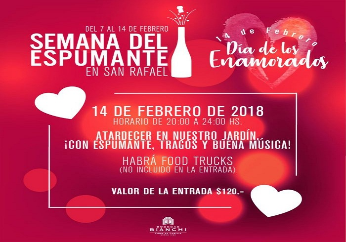 14 de febrero: Mendoza propone brindar por el amor