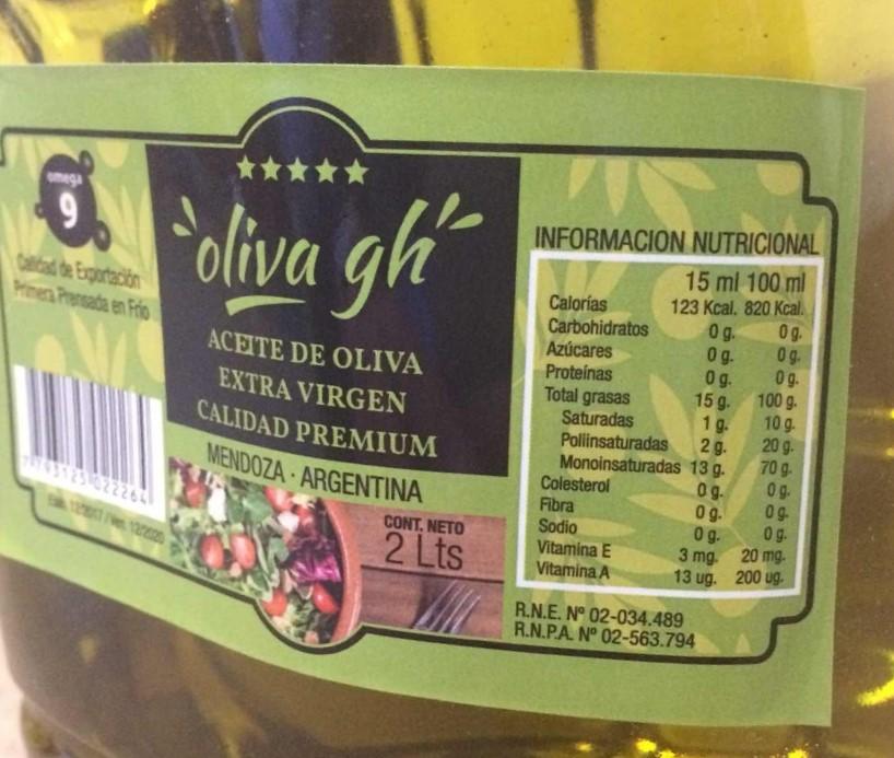 """Resultado de imagen para """"'Aceite de oliva', extra virgen, calidad premium, marca: Oliva gh, Mendoza- Argentina,"""